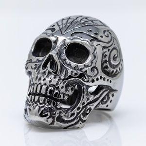 Large Stainless Steel Sugar Skull Biker Ring